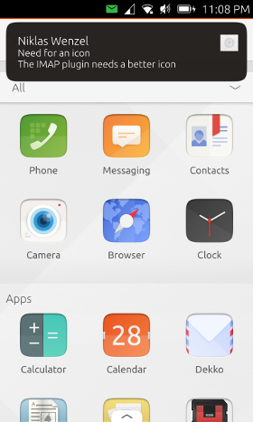 Screenshot of an IMAP notification